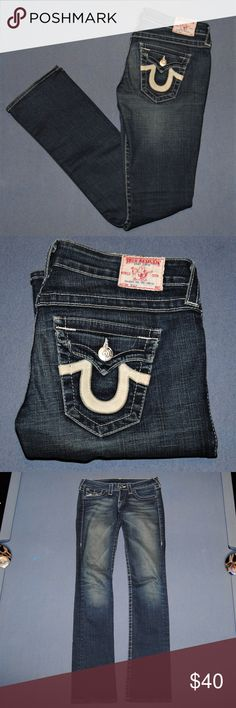 "TRUE RELIGION STRAIGHT LEG JEANS 27 Very nice jeans by True Religion  Tag size 27 (equivalent 3/4) Actual waist measures 14"" the inseam is 33.5 inches  Minor frey on the back right hem Factory fading True Religion Jeans Straight Leg"