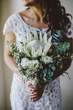 White Protea, Baby Blue Eucalyptus, White Wax Flower, Succulents, White Blushing Bride Protea Source by taniaannejonker White Wax Flower, Wax Flowers, Little Flowers, Bridal Flowers, Protea Wedding, Fall Wedding Bouquets, Bride Bouquets, Floral Wedding, Wedding Bride