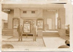 1937 Gonzales Theater, Gonzales, Louisiana From Melanie & Lauri Pasqua To the left is my uncle Pete Pasqua (that is who it looks like. On the right is my grandfather - Sam Pasqua Gonzales Louisiana, Ascension Parish, Old Images, Theater, Theatres, Teatro, Drama Theater