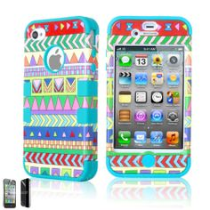 For iPhone 4 4S Hybrid Rubber Rugged Combo Matte Case Hard Cover Screen Guard
