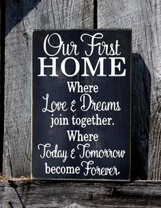 Our First Home Sign, Rustic Wedding Gift For Couple, First Home No VINYL Wood Plaque, Housewarming Mr Mrs Christmas Gift New House Wall Art
