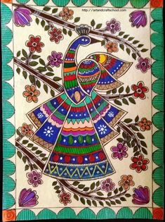 Gond painting pins) ~ a form of Indian folk and tribal art named after the largest tribe of central India. The belief system of these people sees rivers, hills, rocks and trees as sacred. Madhubani Paintings Peacock, Kalamkari Painting, Madhubani Art, Indian Art Paintings, Worli Painting, Peacock Painting, Peacock Art, Fabric Painting, Peacock Design