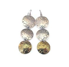 Laton Earrings, Taxco Mexico, Sterling Silver, Mexican Sterling, Gold Plated…