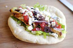 Greek Chicken Pita {open face style} with Cucumber & Dill Yogurt Dressing