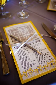 Crossword puzzle with questions about the bride and groom - handy for when your guests are waiting for the meal! Love this idea!