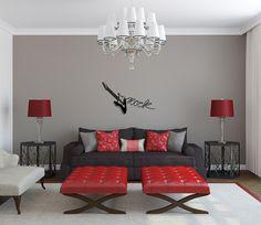 peinture grise pour le salon moderne avec un canapé droit