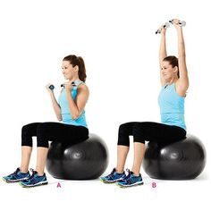 Works biceps and shouldersHold a dumbbell in each hand and sit on a stability ball or chair with knees bent and feet on the ground. Extend arms at sides, palms facing forward. Curl weights toward shoulders (A), then rotate palms away from you as you press dumbbells straight overhead (B). Reverse the motion to return to starting position.