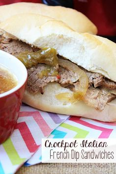 These Crockpot Italian French Dip Sandwiches are the perfect dinner for a busy night! One of the best french dip sandwich recipes I've ever had! Italian Beef Recipes, Italian Beef Sandwiches, Slow Cooker Roast, Crock Pot Slow Cooker, Roast Recipes, Crockpot Recipes, French Dip, Food Reviews, Beef Dishes
