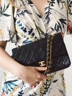 our products - Chanel - classic flap bag - black - gold - flowers - l'Etoile Luxury Vintage