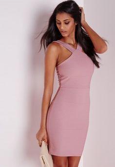 5a5fb97e1d8264 Bandage Cross Strap Bodycon Dress Mauve Mauve Dress, Bandage, Tight Dresses,  Day Dresses