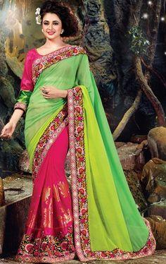 Impressive Parrot Green and Pink Latest Designer Saree