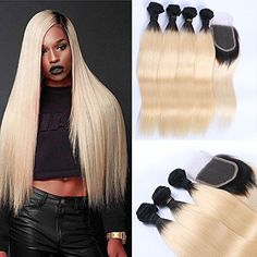 Wicca Ombre Blonde Hair Extensions 1B/613 Brazilian Honey Blonde Human Hair Bundles with Closure 3 Bundles with Lace Closure Silk Straight Dark Roots Hair Weaving(14 16 18 with 12 inches)