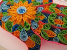 Quilled hamsa in bright colours