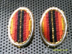 Brand New Beaded Hand Made Oval Barrettes