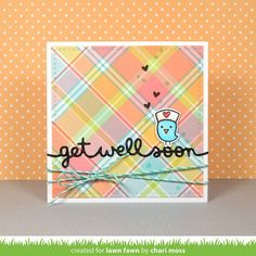 Lawn Fawn Intro: Stitched Kite, Scripty Smile, Get Well Soon Border, Grassy Hillside Borders