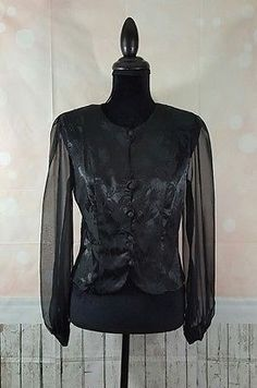 All That Jazz Black Floral Button Up Sheer Sleeve Blouse Top