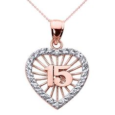The Sweet 15 Años - Quinceanera pendant necklace is another stunning gift idea for the birthday girl. The heart is made from pave set cubic zirconia stones. Rose gold number (15) are at the center of...