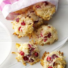 Coconut Cranberry Yummies Recipe -When my husband came home from the grocery store with six bags of fresh cranberries, I launched a full scale effort to creatively use them all. Bursting with tart cranberry and sweet coconut flavor, these tasty bites are my favorite result from that experiment.