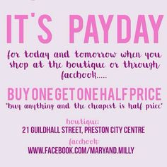 Don't forget our offer of buy one get one half price off everything when you shop in the boutique or over Facebook!! Treat yourself this lunch with this amazing deal at Mary & Milly, 21 Guildhall Street, Preston City Centre. Or shop through Facebook and on our website at www.maryandmilly.co.uk for FREE UK DELIVERY!!