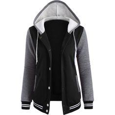 Varsity Baseball Fleece Hoodie Jacket ($21) ❤ liked on Polyvore featuring outerwear, jackets, jackets/vests, fleece jacket, baseball jacket and fleece baseball jacket