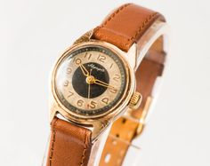 Vintage women's watch Aurora/Zarja ladies wrist watch rare gold caramel tones watch USSR on Wanelo