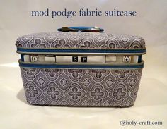 Mod podge vintage suitcase upcycle - THIS one! Vintage Suitcases, Vintage Luggage, Kelly Wearstler, Decoupage Suitcase, Suitcase Decor, Mod Podge Fabric, Vintage Train Case, Repurposed Furniture, Decoupage Furniture
