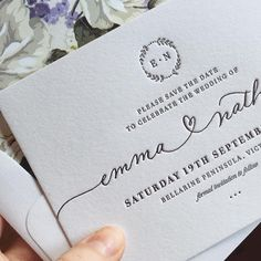 """""""Beautiful crisp black letterpress on 100% cotton, with our original threaded heart calligraphy, custom monogram, and sweet floral envelope liner ❤️…"""""""