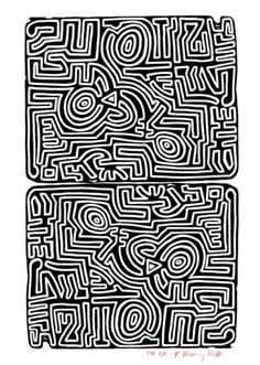 "Labyrinth Maze: ""#Labyrinth,"" lithograph by Keith Haring, 1989."