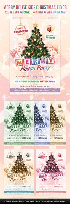 Buy Merry House Kids Christmas Flyer by Rewroc on GraphicRiver. Merry House Kids Christmas Flyer By Rewroc InteractiveA light, colorful and vibrant Christmas flyer for Kids' Christm. Christmas Tree Poster, Christmas Tree Tops, Kids Christmas Ornaments, Christmas Flyer, A Christmas Story, Christmas Parties, Tree Tattoo Foot, Simple Tree House, Tree Illustration