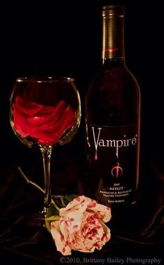 Vampire Merlot. I've drank this wine. It's a bit bitter, but it's good. I kept the bottle after I finished it.