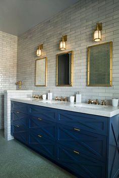 Inspirational blue bathroom design ideas just on home design ideas site Blue Bathroom Vanity, Navy Blue Bathrooms, Bathroom Vanity Designs, Vanity Sink, Bathroom Colors, Small Bathroom, Bathroom Ideas, Bathroom Cabinets, Bathroom Vanities