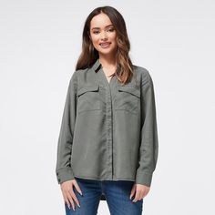 Dannii Minogue Petites Lyocell Shirt - Khaki Green | Target Australia