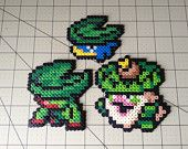 Juego Pokemon perla Sprite - familia Lotad Perler Bead Art, Perler Beads, Pokemon Chart, Hama Beads Pokemon, Pokemon Sprites, Bead Kits, Fuse Beads, Bead Crafts, Beading Patterns