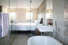 Islington, London, UK - contemporary - bedroom - london - Morph Interior Ltd Like towel warmer and nook behind minimal sink.
