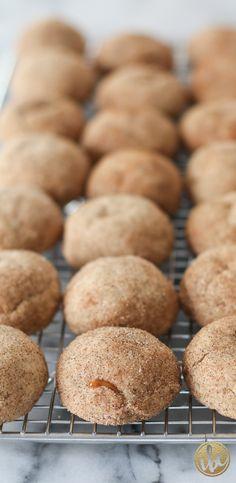 Caramel Apple Butter Snickerdoodles / fall baking via inspiredbycharm.com