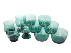 Vintage Libbey Juniper Green Glass Gold Rimmed Bowls, Wine Goblets, and Highball Glasses