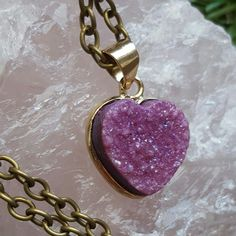 Candy aura Druzy Quartz loveheart crystal necklace back in stock.