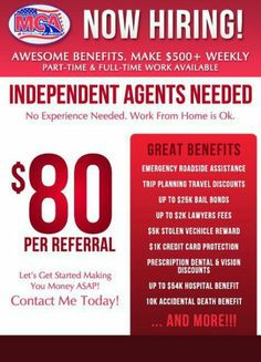 Contact me for more information! Great benefits, great people, great money! recrutier@mcaoffer.com