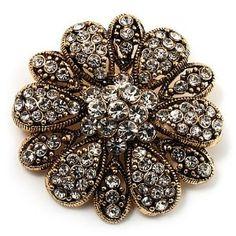 Vintage Swarovski Crystal Floral Brooch (Antique Gold) - http://finejewelrygalleria.com/jewelry/brooches-pins/vintage-swarovski-crystal-floral-brooch-antique-gold-com/