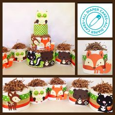 Set of Five Mini Woodland Theme Diaper Cakes, Woodland Theme Baby Shower Centerpieces, Baby Boy Baby Girl Shower Themes, Baby Shower Gender Reveal, Baby Boy Shower, Baby Shower Gifts, Baby Gifts, Baby Shower Centerpieces, Baby Shower Decorations, Centerpiece Ideas, Woodland Baby