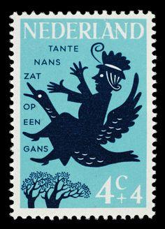 Alice Horodisch-Garman postzegel Nederland 1963, Kinderpostzegel, Kinderrijmpjes; Tante Nans zat op...