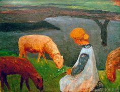 Paula Modersohn-Becker - Sitzendes Mädchen mit Schafen am Weiher I