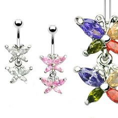 Double jeweled butterfly belly ring. #bellyring #piercing #bodypiercings #bodyjewelry #butterfly ♥ $10.99 via OnlinePiercingShop.com