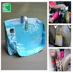 SUPER SALE! Hook Handle Tote with Attached Strap. Exclusively Designed & USA made. Car Organizer. turquoise sea life-grey polka dots