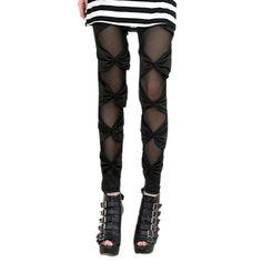 #LOCOMO Women Half Sheer Ribbon Inset Stripes Legging Pant FFT060 Black S-M