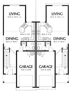 Plan 62610DJ Modest Ranch Duplex House Plan Duplex house plans