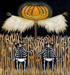 The Scarecrow Original Halloween Cat Folk Art by KilkennycatArt (Ryan Conners) Halloween Magic, Halloween Signs, Halloween Pictures, Halloween Horror, Halloween Cat, Spirit Halloween, Holidays Halloween, Vintage Halloween, Happy Halloween