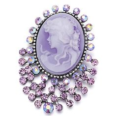 Pugster Classic Antique Lady Maiden Profile February Birthstone Purple Beauty Cameo Floral Amethyst Purple Swarovski Crystal Diamond Accent Brooches And Pins