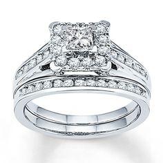 Diamond Bridal Set 7/8 ct tw Princess-cut 14K White Gold