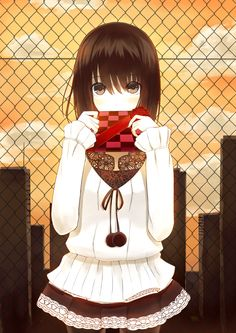 anime girl holding chocolate box